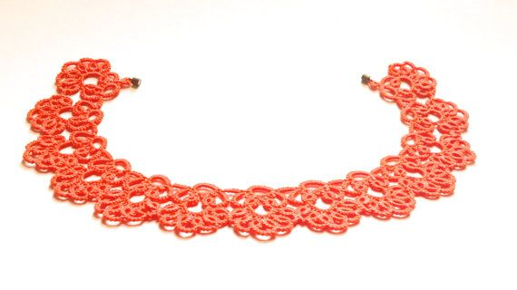 Pumpkin orange tatted necklace choker tatted by SILHUETTE