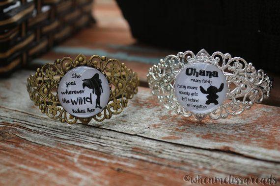 Pocahontas - Lilo and Stitch - Disney quote bracelet - Disney Princess bracelet - Inspirational Quote necklace - Disney bangle - Disney cuff