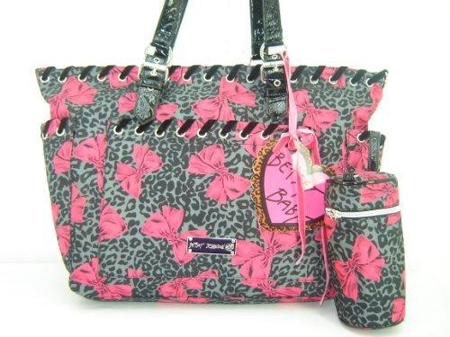 betsey johnson cheetah bows baby bag tote pink