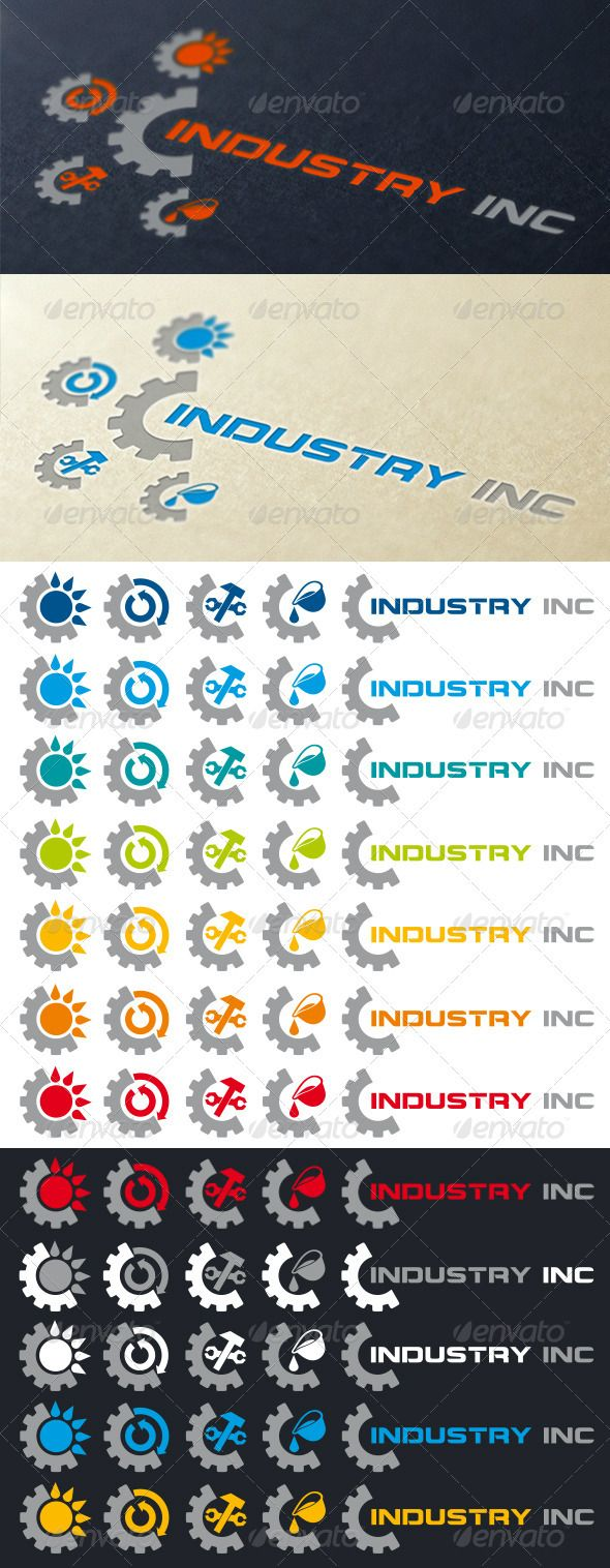 Industrial Logo Template #GraphicRiver Logo template for industry, especially areas such as: cast iron foundry, metallurgy, mechanics, solar energy technologies, recycling. Many colors variations. Sprocket element. Corel DRAW X5 file with all versions of logo and EPS files included Free font used from: .dafont /montalban.font Created: 17December12 GraphicsFilesIncluded: VectorEPS #CorelDRAWCDR Layered: No MinimumAdobeCSVersion: CS Resolution: Resizable Tags: Sprocket #castironfoundry #gear…