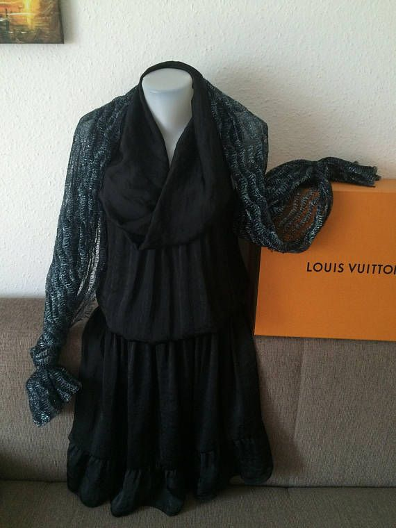 Woman's Dress Sisley long black dress with scarf vintage dress Feminina