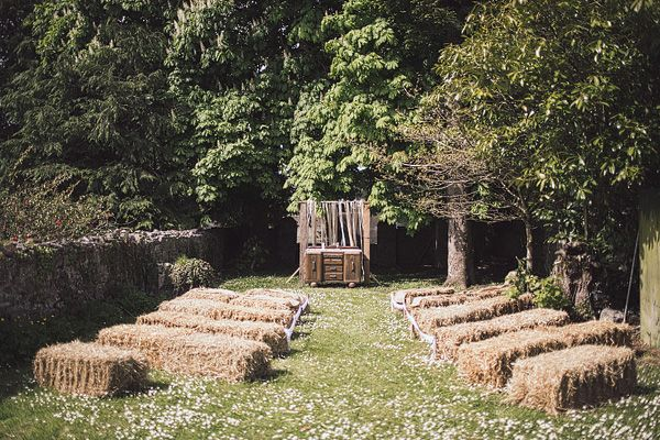 bales of hay seating area. Read More - http://onefabday.com/irish-destination-farmhouse-wedding/