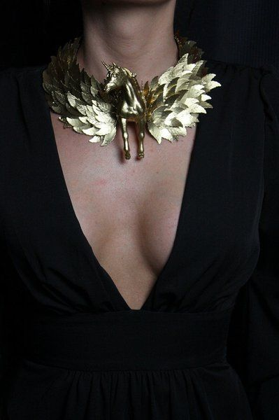 SOLD! 989 Zibellini Massive Gold Unicorn Statement Bib Necklace