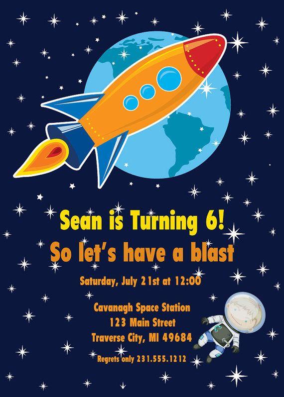 Rocket Ship Invitation - Astronaut - Space Birthday
