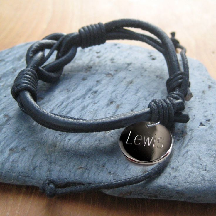 Unisex Leather Engraved Bracelet,Personalised mens bracelet