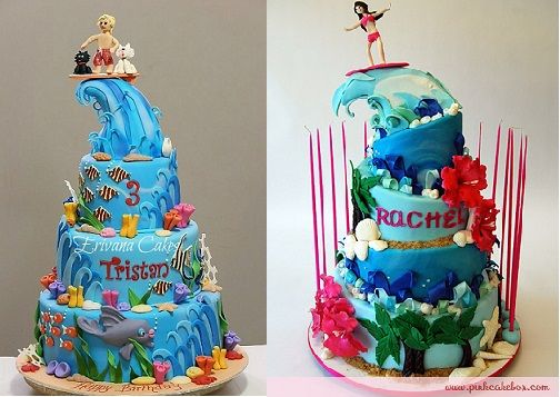 FOR MIKE: Surfer cakes by Erivana cakes.com and thepinkcake box.com