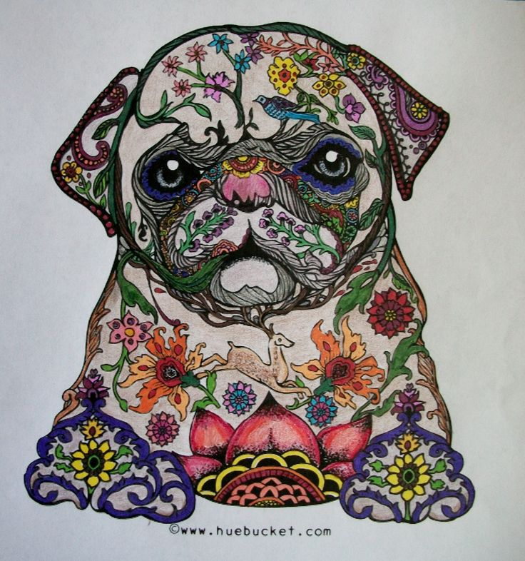 This fancy pup is a free page I downloaded. Done mostly with ultra-fine Sharpie markers.