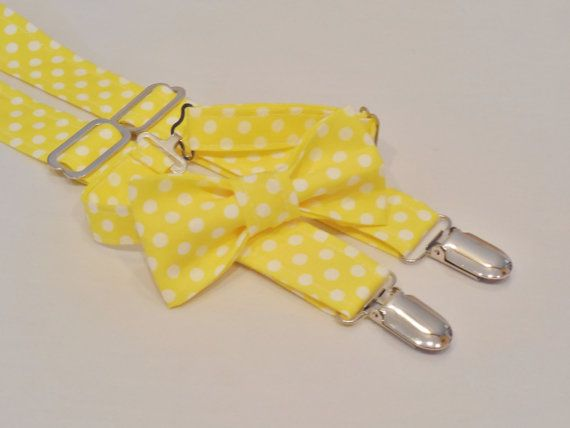 Easter Yellow bow tie and suspender set. by CuppyCakeClothing