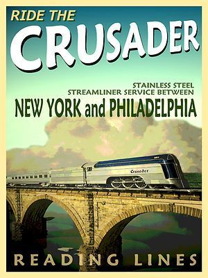 New York to Philadelphia on the Reading Railroad.  The Crusader a train of the 1930's