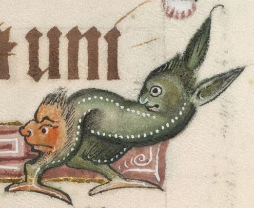 Detail from The Luttrell Psalter, British Library Add MS 42130 (medieval manuscript,1325-1340), f274r