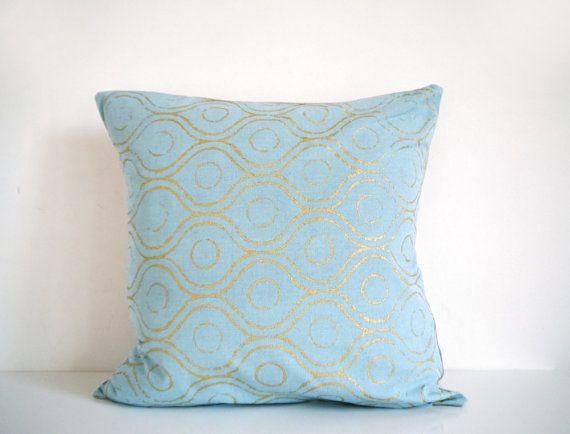 Light Aqua Throw Pillow : Aqua and gold pillow - metallic gold geometric print, decorative pillow, cushion cover, light ...