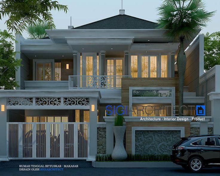 Rumah Klasik Modern 2 Lantai, desain rumah 2 lantai dengan model fasad modern klasik dengan tidak banyak menempatkan detail ornamen
