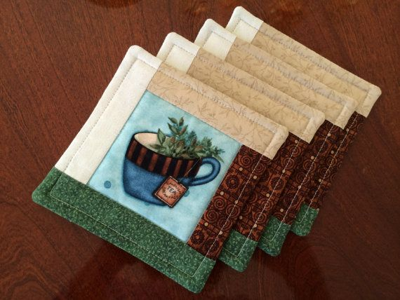 4 Quilted Log Cabin Coasters Tea Cups Reversible By