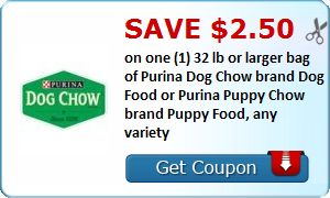 New Coupon!  Save $2.50 on one (1) 32 lb or larger bag of Purina Dog Chow brand Dog Food or Purina Puppy Chow brand Puppy Food, any variety - http://www.stacyssavings.com/new-coupon-save-2-50-on-one-1-32-lb-or-larger-bag-of-purina-dog-chow-brand-dog-food-or-purina-puppy-chow-brand-puppy-food-any-variety/