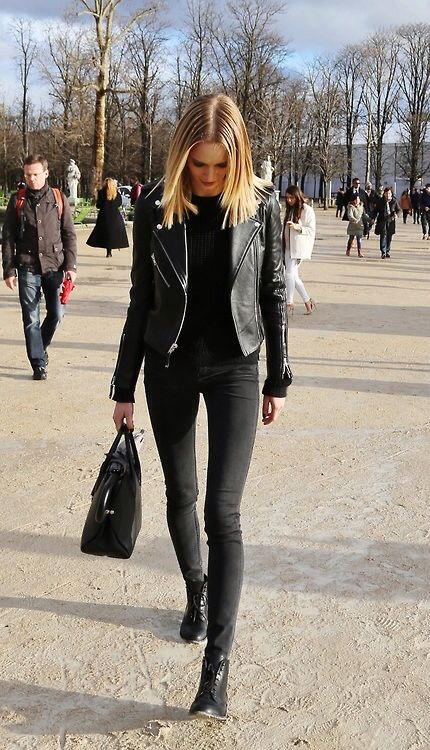 Kick ass black ensemble. Black flatters so don't be shy & discount this look. Bootleg jeans or strait leg are more flattering for women lucky enough to have contours. A medium length or long coat can bolster confidence & still be kick ass sexy.