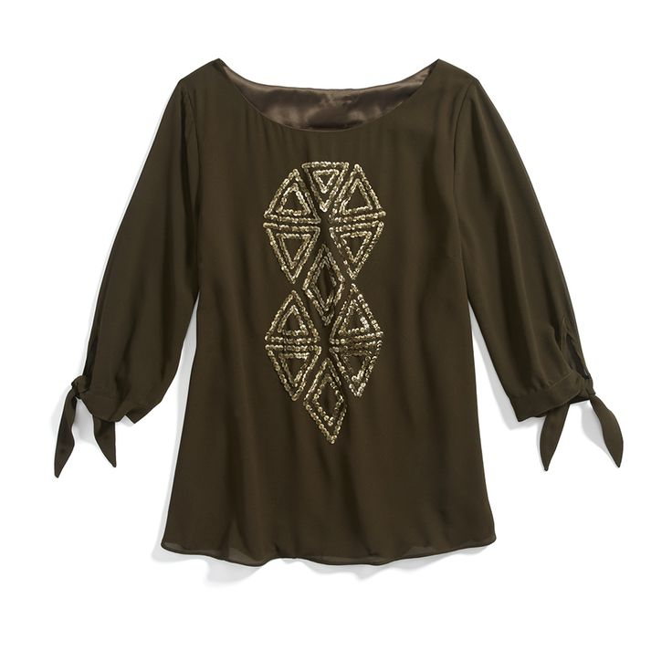 Stitch Fix Monthly Must-Haves: Keep accessorizes to a minimum when wearing a sequin embellished top. Think dainty earrings and simple gold bangles.