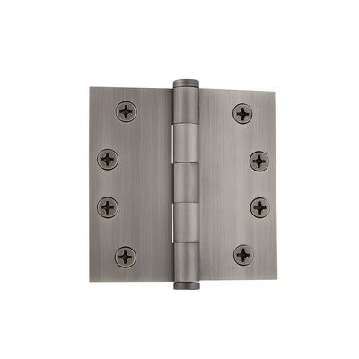 """Grandeur 4"""" Button Tip Heavy Duty Hinge with Square Corners Finish: Antique Pewter"""