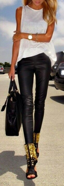black leather jeans + white always chic <3