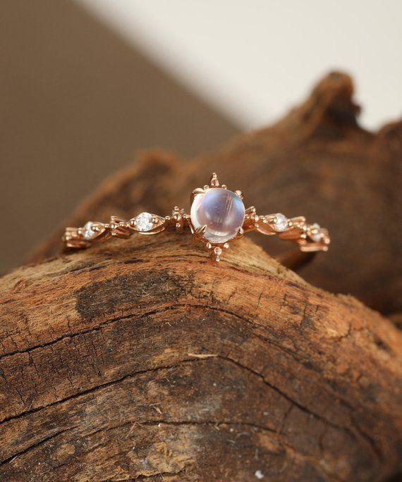 Moonstone engagement ring rose gold Diamond cluster engagement ring vintage Uniq ...