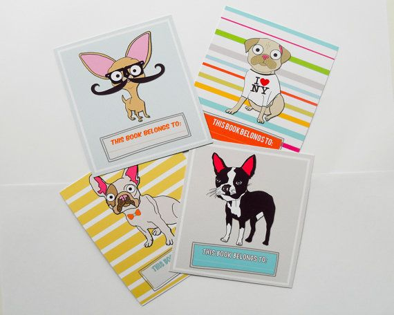 Chihuahua Bookplates Labels With Boston Terrier, Pug & French Bulldog