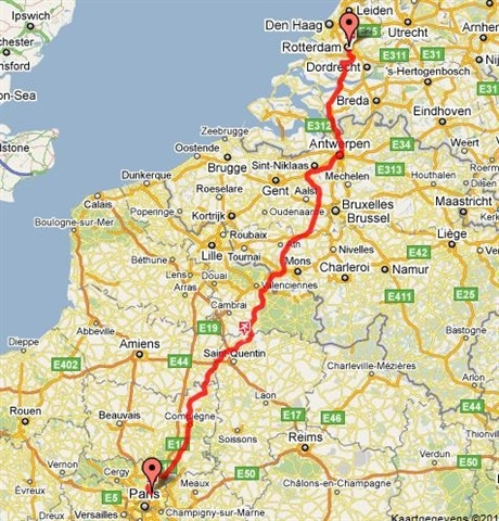 Roparun route vanuit Parijs naar Rotterdam.
