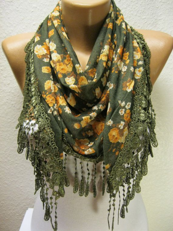 Elegant Flowered Triangular Scarf with Trim by MebaDesign on Etsy, $14.90