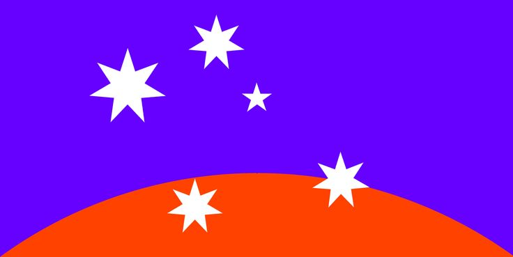 #ausflag ULURU-SKY minima: heliotrope blue, orange and integrated dynamic Southern Cross/ Federation Star device. ©2015 simon alexander cook