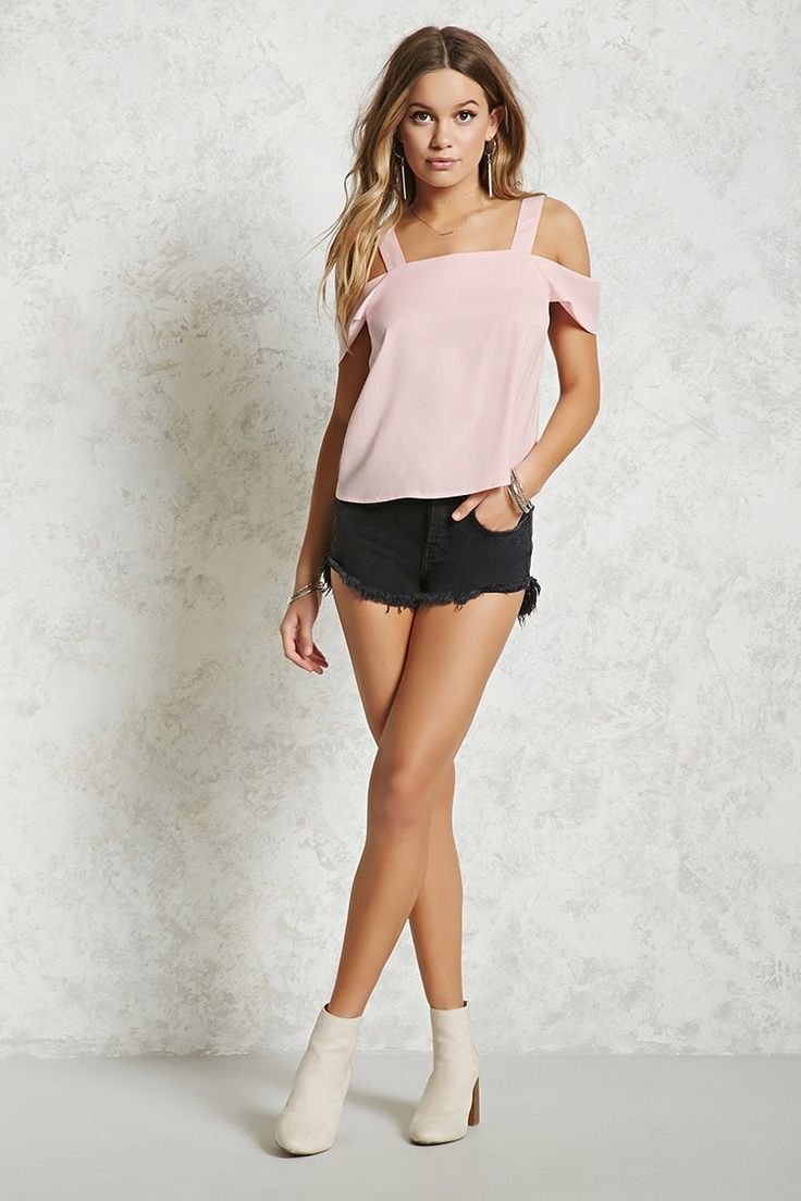 Forever 21 Contemporary - A satin woven top featuring an open-shoulder design, a square neckline, shoulder straps, short sleeves, and a trapeze hem.