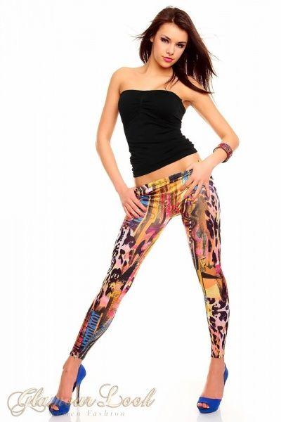 legginsy kolorowe panterka wzory 36 s