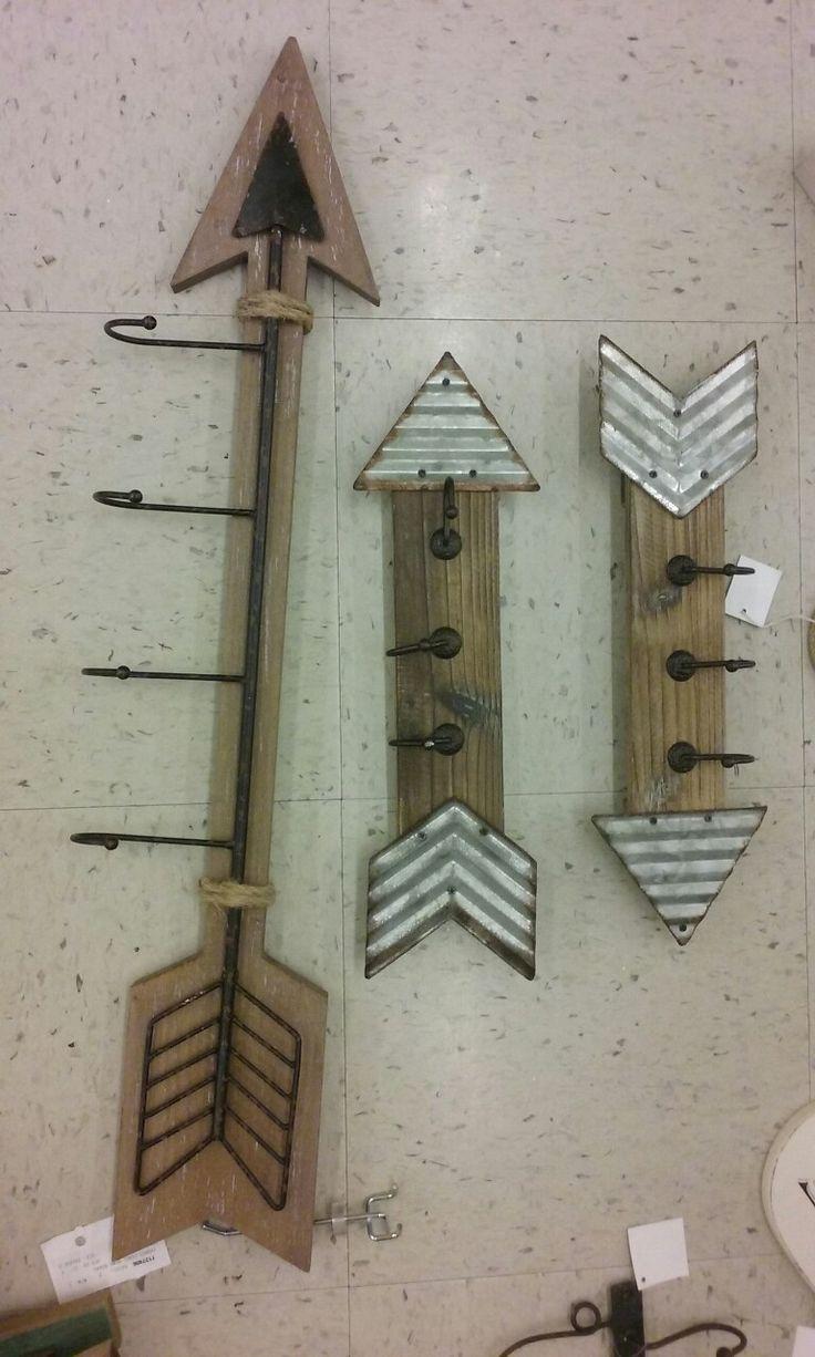 Cute wood arrow wall hanger with hooks/woodland theme nursery /hobby lobby
