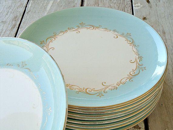 Set Of 10 Gold Crown Aqua Dinner Plates Sooo Pretty