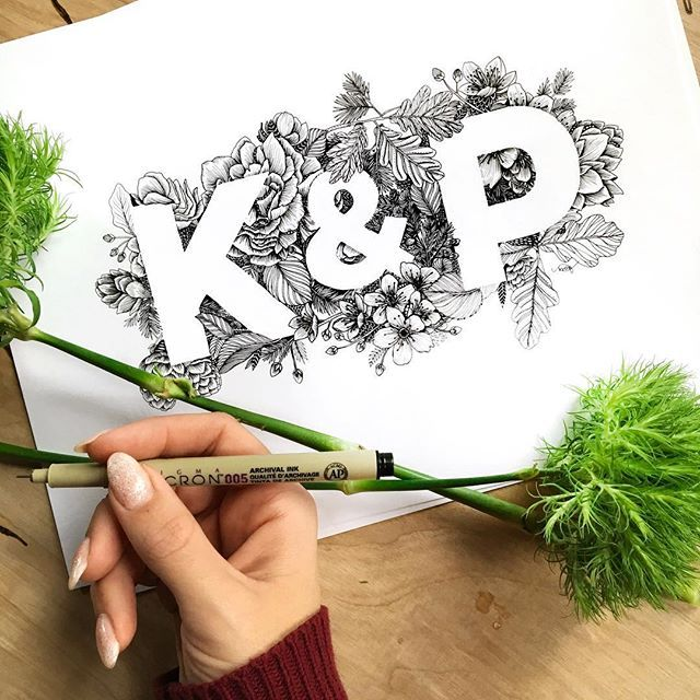 Lettering with black and white botanical patterns