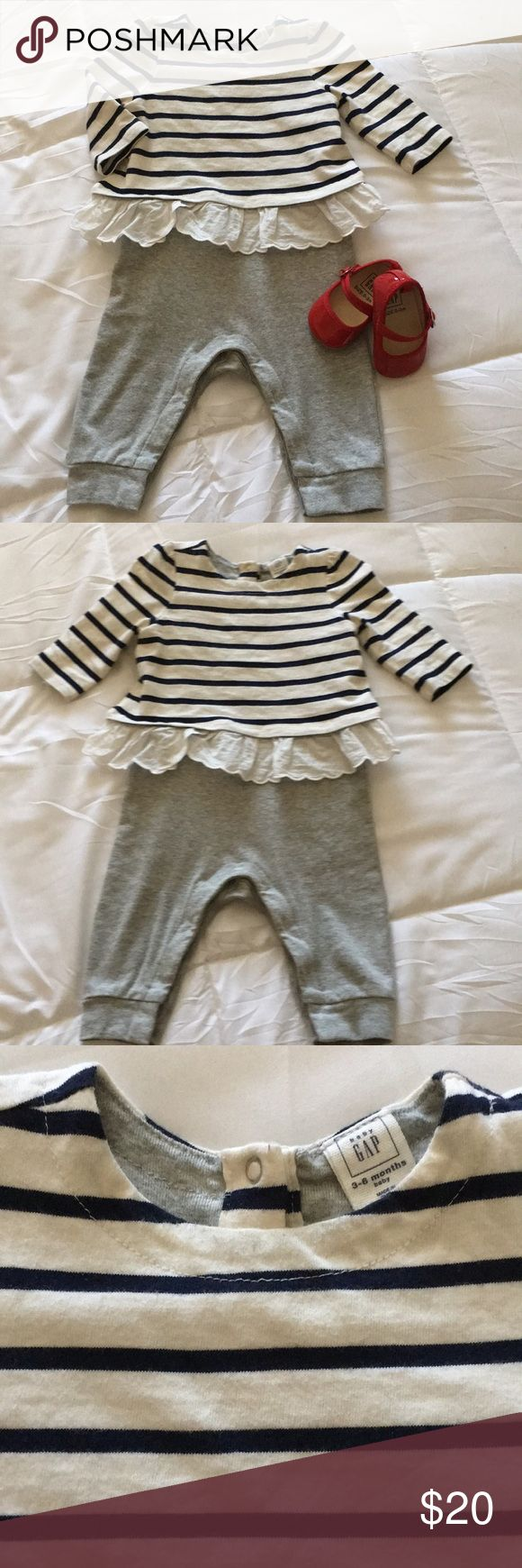 BabyGAP Nautical One Piece/Red Mary Jane Flat Great Condition BabyGAP Triple-Layer one piece Romper (3-6m). Navy/Ivory Stripe. 100% Cotton. No holes or stains. Snaps up the back and on the legs. Listing also includes Red Patent Mary Jane Flats in size (0-3m). Velcro strap for ease on and off. Padded sole. Like New! Note: Baby shoes run large. My daughter wore 0-3m w/all her 3-6m outfits. GAP One Pieces