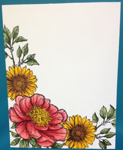 "Bloom with Hope-Stampin Up ""Hostess set""....Great set with 6 floral images and 5 sentiments! I love coloring with alcohol markers!!!"