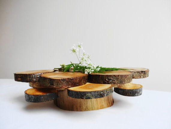 Quot rustic woodland wedding centerpiece wood cake stand