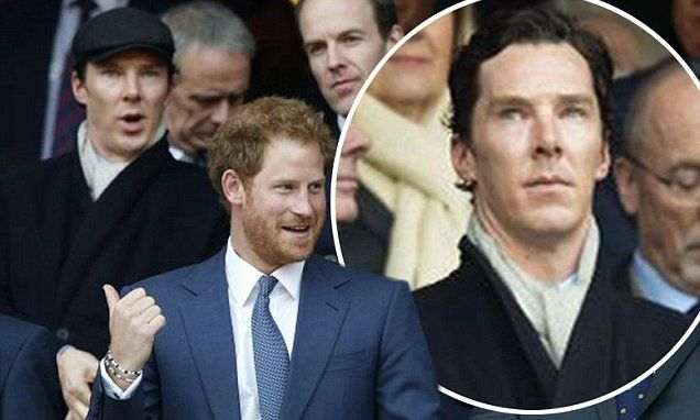 Benedict Cumberbatch rubs shoulders with Prince Harry at the rugby