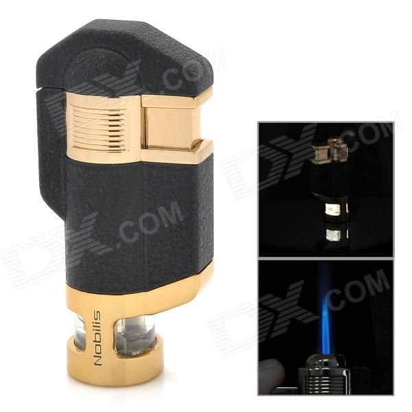 Model: BN617; Quantity: 1 piece(s) per pack; Color: Black + Golden; Material: Stainless steel; Shape: Cuboid; Style: Gas; Flame Color: Blue; Fuel: Butane; Windproof: Yes; Specification: Matte effect on the surface, with LED white backlight; Other Feature: Built-in 3 x LR621 batteries ()included; Packing List: 1 x Lighter; http://j.mp/1sWOdD5
