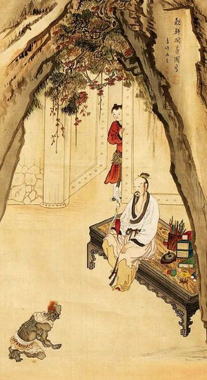 (Korea) 고사인물도 by Shin Yun-bok. aka Hyewon. ca 18th century CE. color on silk. Joseon Kingdom, Korea. 혜원 신윤복. 일본인소장.