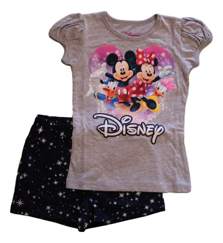 Disney Little Girls' Toddler Mickey Mouse and Friends Shorts Set (4T). Short-sleeve tee with princess sleeves. Elastic-waist shorts. Features Mickey Mouse and friends. Officially Licensed. Machine wash.