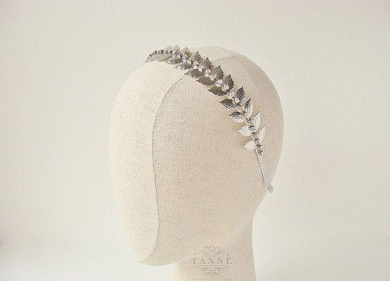 Silver Leaf Headband Greek Goddess Laurel Leaf by TanneDesign