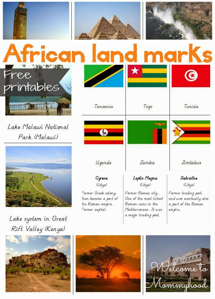 FREE PRINTABLES: African landmarks and African Flag Cards {Welcome to Mommyhood}…