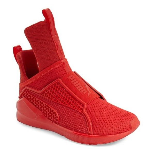 Women's PUMA by Rihanna 'Fenty' Trainer ($180) ❤ liked on Polyvore featuring shoes, sneakers, high risk red, training sneakers, puma shoes, slip-on sneakers, mesh sneakers and red trainer
