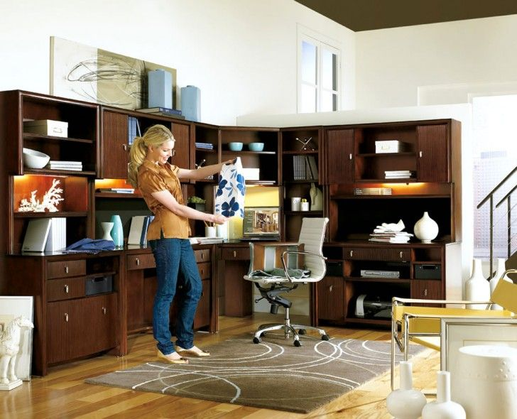 Furniture. Contemporary Corner Home Office Feature Dark Brown Wood L Shaped Office Desk And Full Built In Storage Drawers Shelving And Large Cabinet. Home Office Designs with Cool Furniture and Smart Space-Saving Storage Unit
