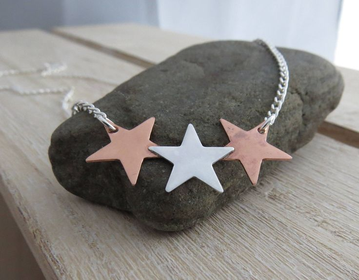 Silver star necklace Star necklace Silver and copper necklace Necklace with stars Star jewellery Star jewelry Mixed metal jewellery Necklace by LDJewelleryDesigns on Etsy