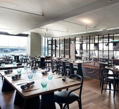The best new restaurants to visit in April : 12 Micron, Barangaroo Arguably the most unique venue at Sydney's Barangaroo, 12 Micron houses a fine dining restaurant and late-night dessert bar all in one. In the restaurant, an emphasis on the Australian landscape is evident from the use of native herbs while wild produce and the dessert bar is just plain fun. Plus, with $100,000 of locally made dinnerware, the interiors aren't too shabby either.