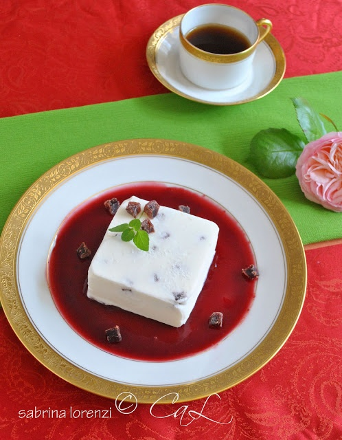 Cherry jelly drops Yogurt semifreddo