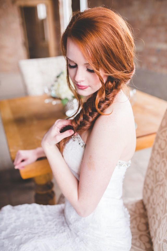 Braided bridal hair | Kylee Ann Photography | see more on http://burnettsboards.com/2014/02/abandoned-warehouse-shoot/