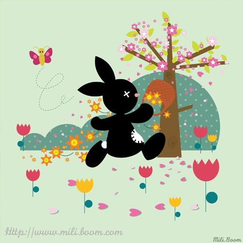Printemps, jeunesse, illustration, lapin, rabbit, Black, couleurs, vectoriel, kawaii, saison
