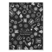 Merry Christmas Symbols, Black and White, Poster