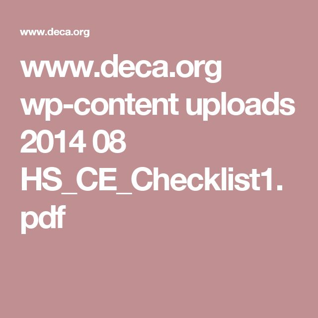 www.deca.org wp-content uploads 2014 08 HS_CE_Checklist1.pdf
